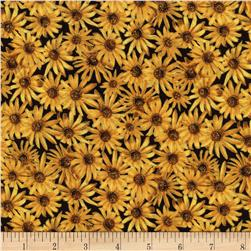 Timeless Treasures Golden Harvest Metallic Daisies Gold Fabric