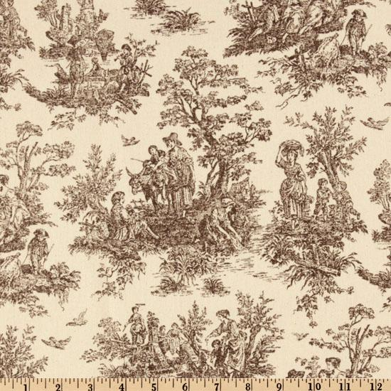 Premier Prints Jamestown Toile Brown Natural Discount