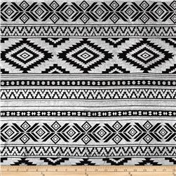 Cotton Lycra Jersey Knit Aztec Metallic Silver/Black