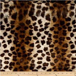 Faux Fur African Leopard Brown/Beige Fabric