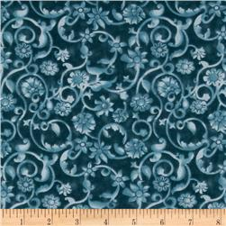 108'' Tonal Scroll Quilt Backing Teal