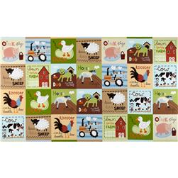 At The Farm Patchwork Panel Farm Animals Brown