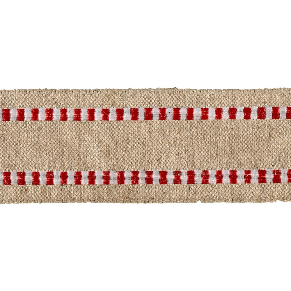 1 1/2'' Wired Natural Burlap Stripe Edge Ribbon Red/White