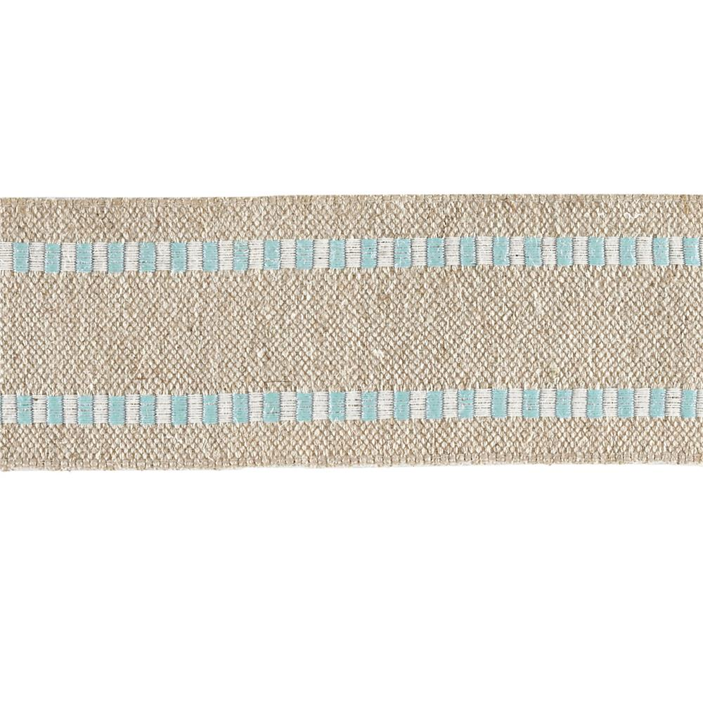 1 1/2'' Wired Natural Burlap Stripe Edge Ribbon Light Blue/White