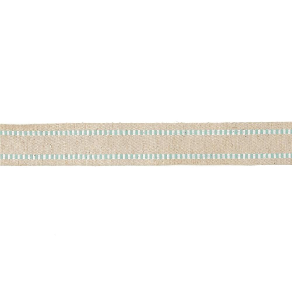 1 1/2'' Wired Natural Burlap Stripe Edge Ribbon Teal/White