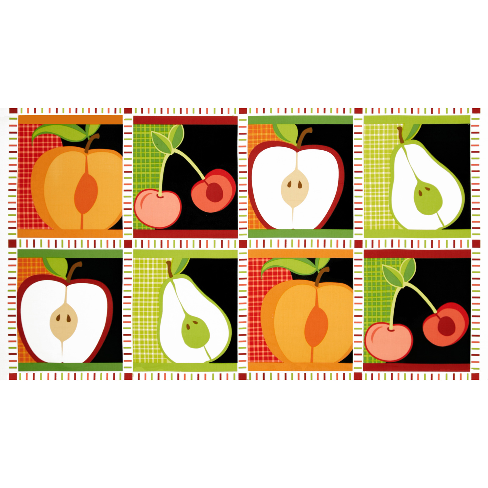 Metro Market Patchwork Panel Apples Harvest Red/Green Fabric