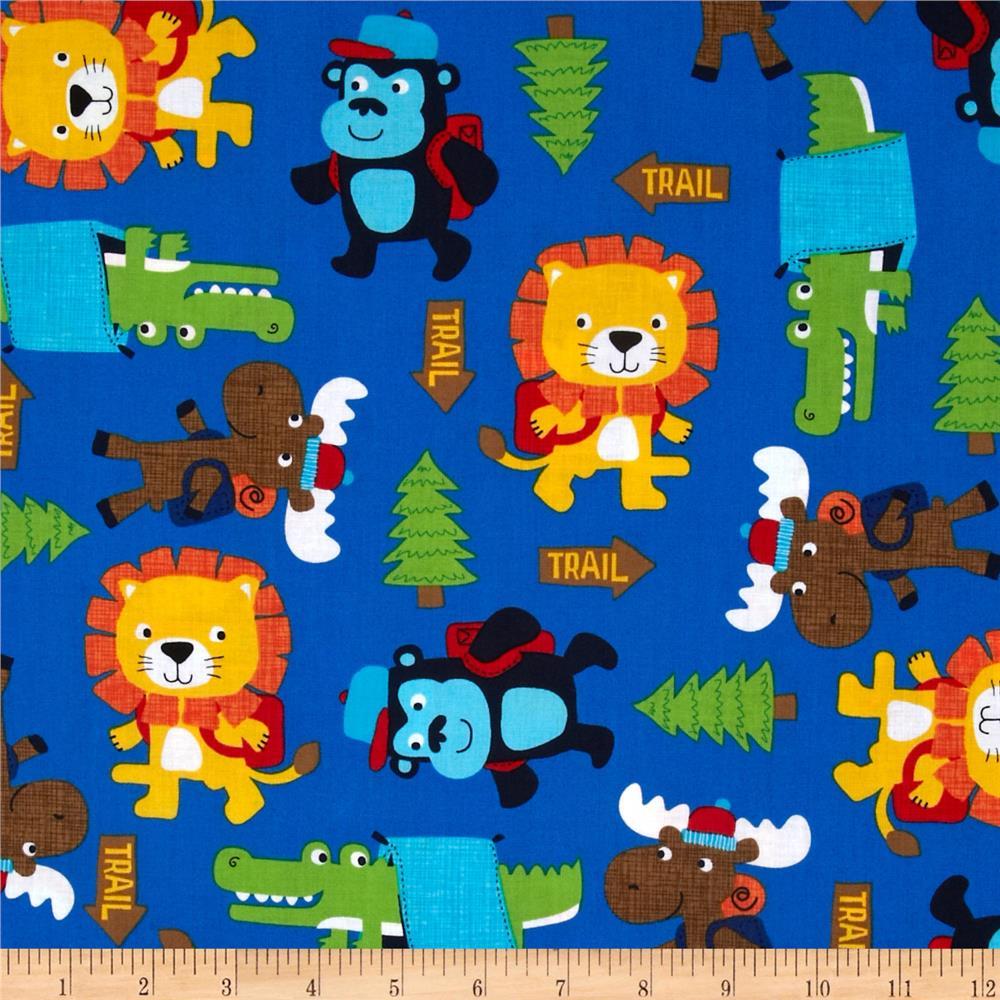 Timeless Treasures Novelty Camping Critters Blue