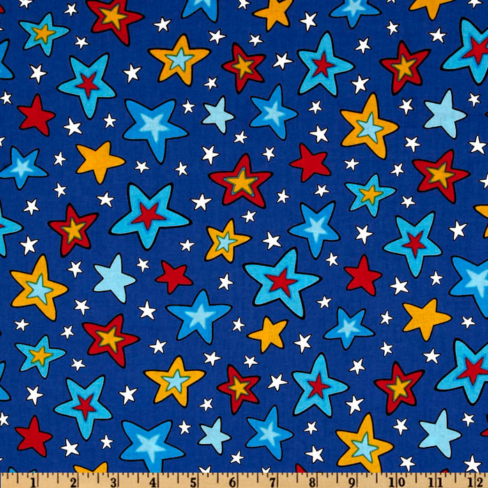 Celebrate Seuss 3 Stars Blue Fabric