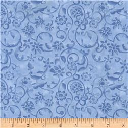 108'' Tonal Scroll Quilt Backing Periwinkle Blue Fabric
