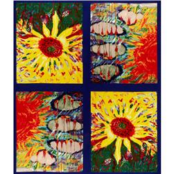 April Showers Bring Sunflowers Panel Blue