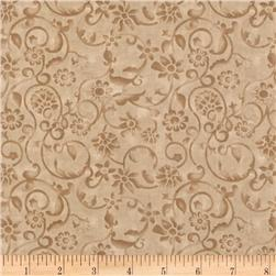 108'' Tonal Scroll Quilt Backing Taupe