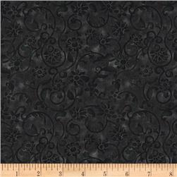 108'' Tonal Scroll Quilt Backing Black Fabric