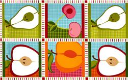 Metro Market Patchwork Panel Apples Summer Orange/Green Fabric