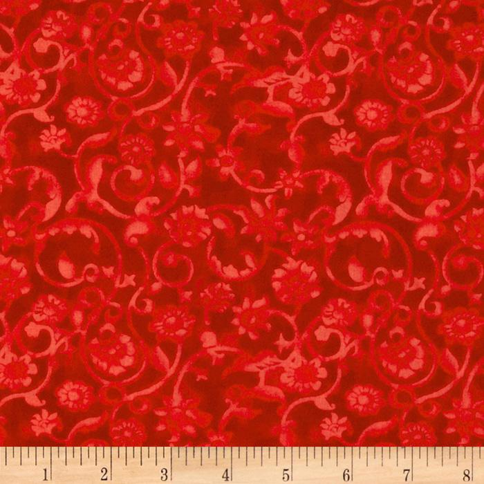 108'' Tonal Scroll Quilt Backing Red