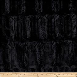 Faux Fur Embossed Beaver Black Fabric