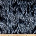 Shannon Faux Fur Fancy Feather Denim-Blue