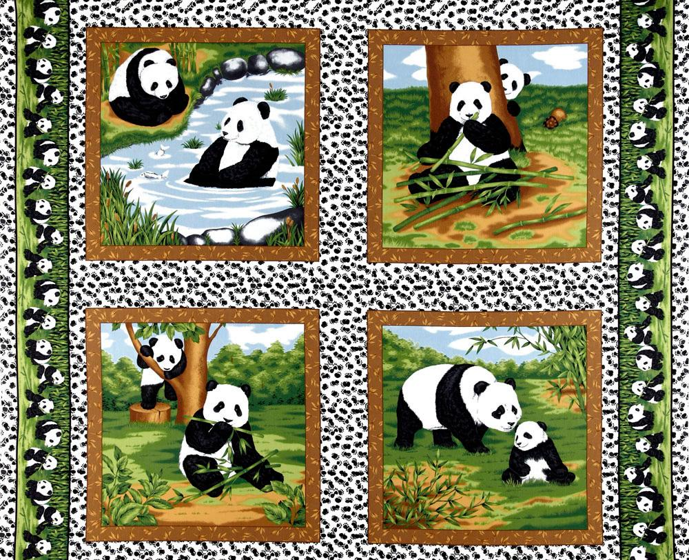 Peter Panda Bamboo and Pandas Panel Green