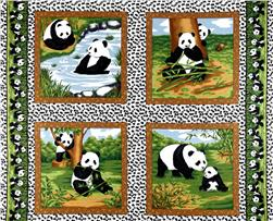 Peter Panda Bamboo and Pandas Panel Green Fabric