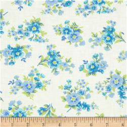 Spring Ahead Blue Floral on White