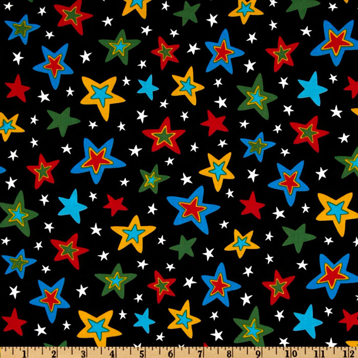 Celebrate Seuss 3 Stars Black Fabric