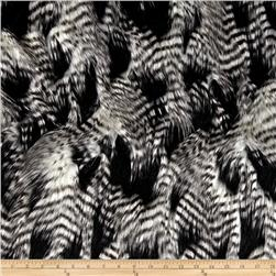 Faux Fur Fancy Feather Black/White Fabric