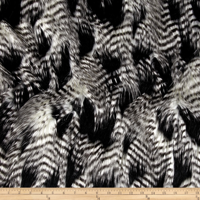 Fabric.com coupon: Shannon Lux Fur Fancy Feather Black/White Fabric