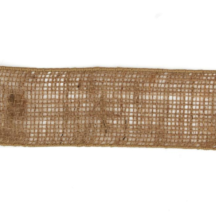 2 1/2'' Wired Burlap Ribbon Natural