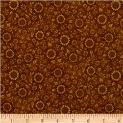 Prized Poultry Floral Vines Gold Fabric