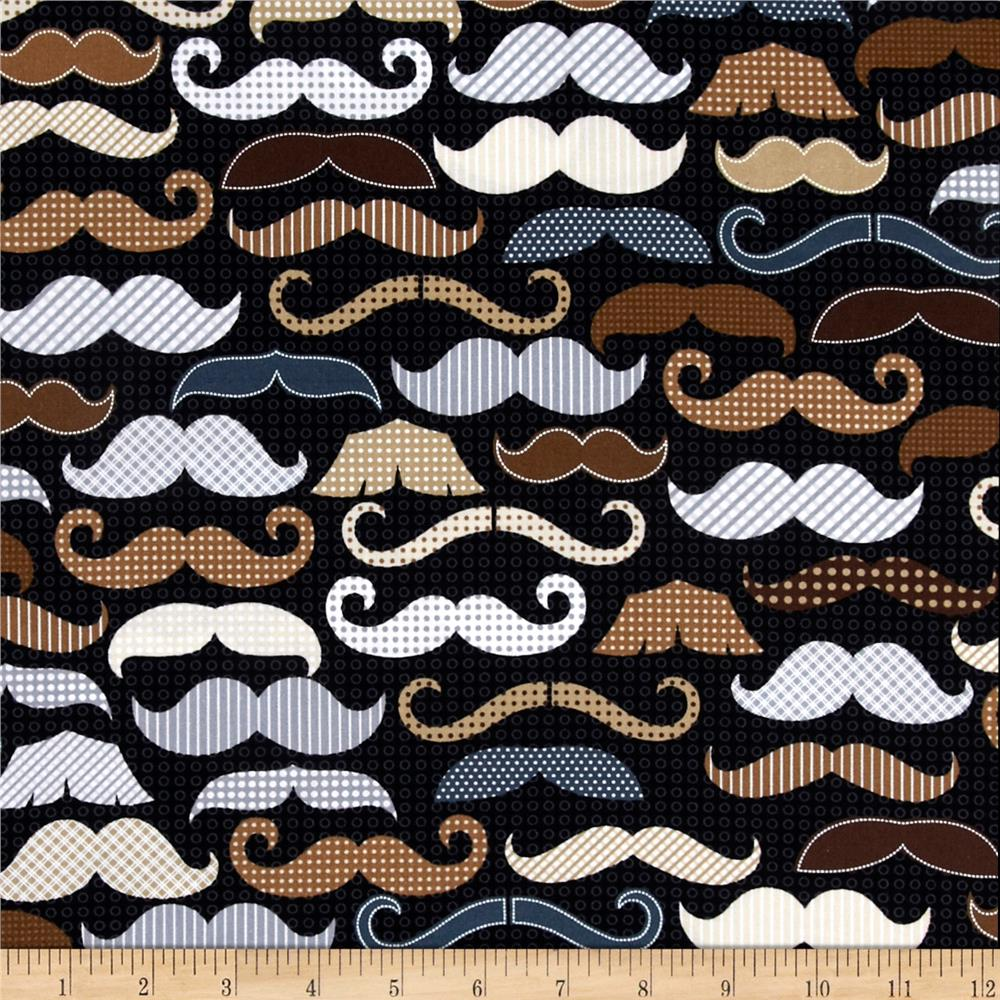 Timeless Treasures Men's Moustaches Black