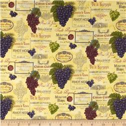 Vineyard Harvest Wine Labels Cream Fabric