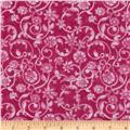 108'' Tonal Scroll Quilt Backing Fuchsia