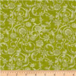 "108"" Tonal Scroll Quilt Backing Quilt Backing Grass"