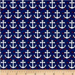 Kaufman Fabulous Foxes Anchors Navy