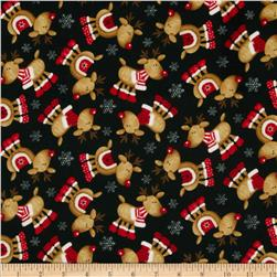 Timeless Treasures Christmas Flannels Winter Reindeer Black