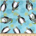Playful Penguins Flannel Penguin Toss Teal