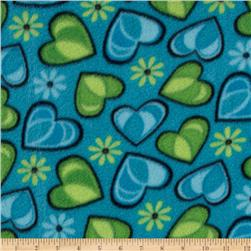 Fleece Hearts Blue/Green