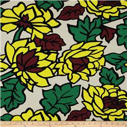 Jersey Knit Leaves Yellow Brown Green