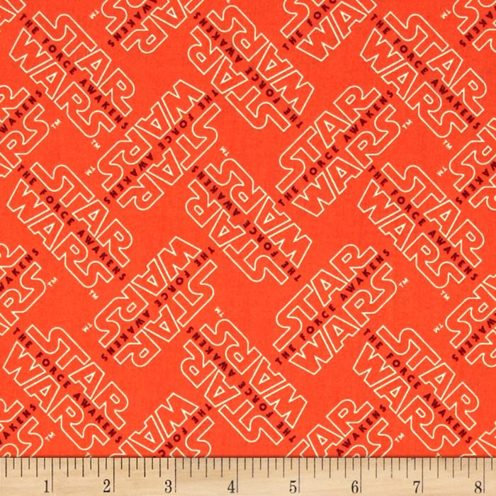 Star wars the force awakens logo orange discount for Star design fabric