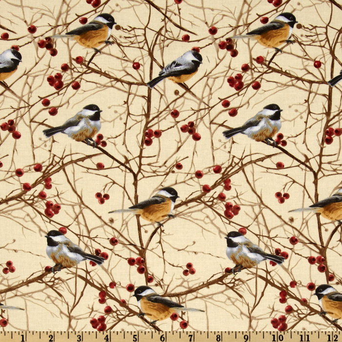 Timeless Treasures Cabin Fever Birds Cream Fabric
