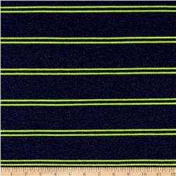 Designer Jersey Knit Stripe Neon Green/Blue