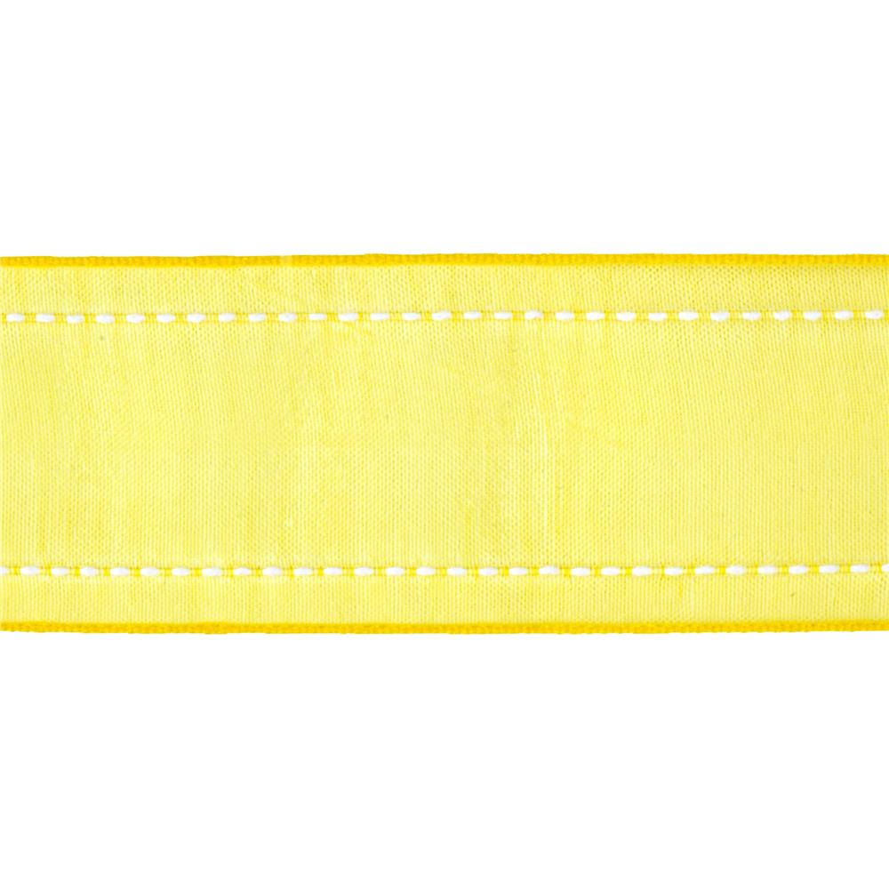 "1 1/2"" Sheer Stitched Edge Ribbon Yellow"