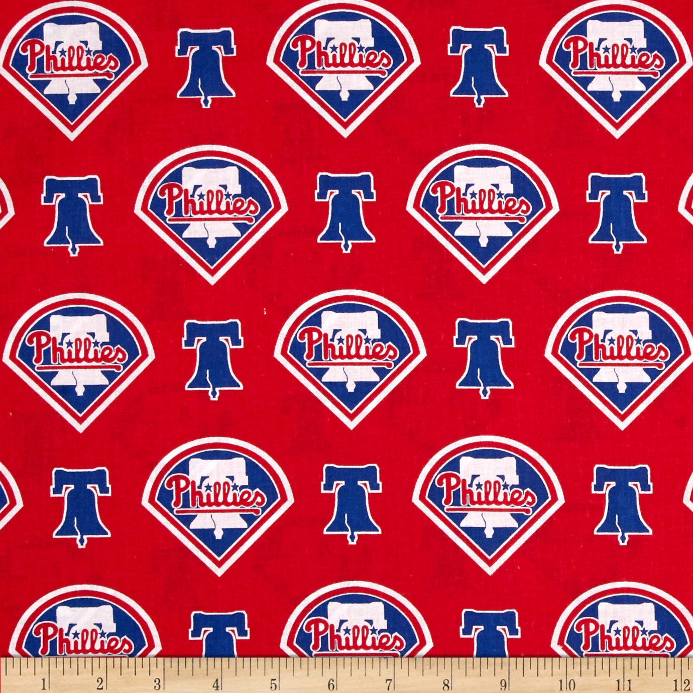 MLB Cotton Broadcloth Philadelphia Phillies Red/Blue Fabric by Fabric Traditions in USA