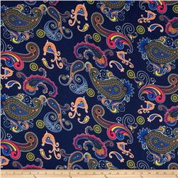Soft Jersey Knit Paisley Navy/Orange