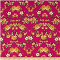 Rayon Challis Small Roses Orange/Yellow/Fuchsia