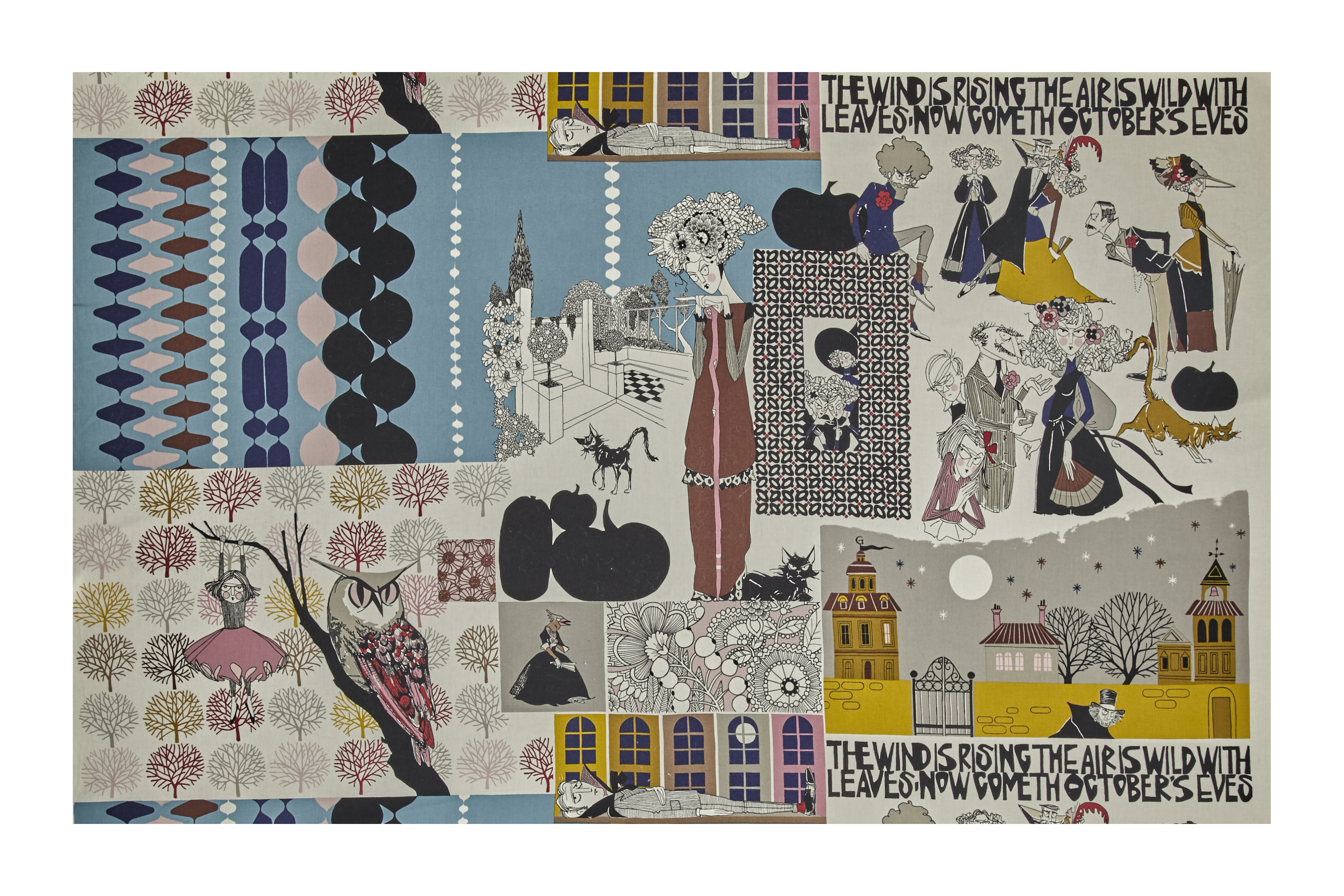 Alexander Henry The Ghastlies This Way Comes Grey Tint Fabric by Alexander Henry in USA