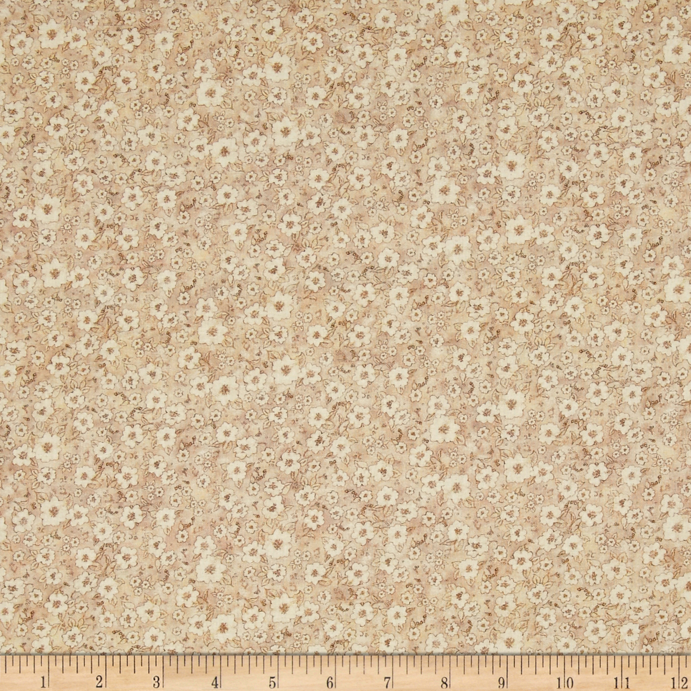 Mia Country Flock Digital Print Floral Texture Beige Fabric by E. E. Schenck in USA
