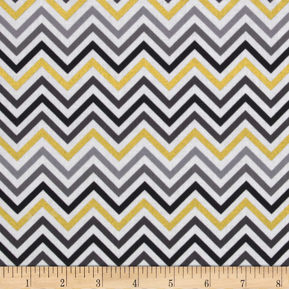 Remix Metallic Small Chevron Smoke Fabric