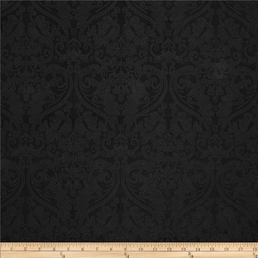 Ramtex Faux Leather Damask Black