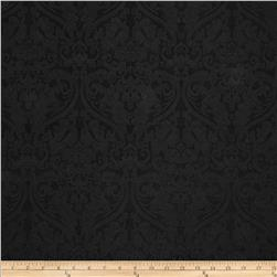 Ramtex Faux Leather Damask Black Fabric