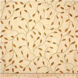 Jaclyn Smith Embroidered Botanical Garden Shantung Fresh Gold